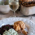 A healthy roast chicken dinner with no added fat to roast the chicken and still keeping it juicy. Served with black rice and yoghurt sauce. #yourguardianchef #chickenfoodrecipes #chickenrecipes #chickenbreastrecipes #lowfatdiet #lowcarbrecipes