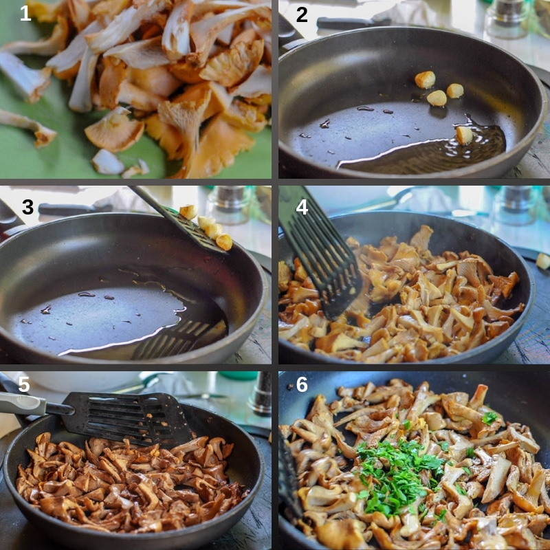 Step by step stir fry chanterelle wild mushrooms