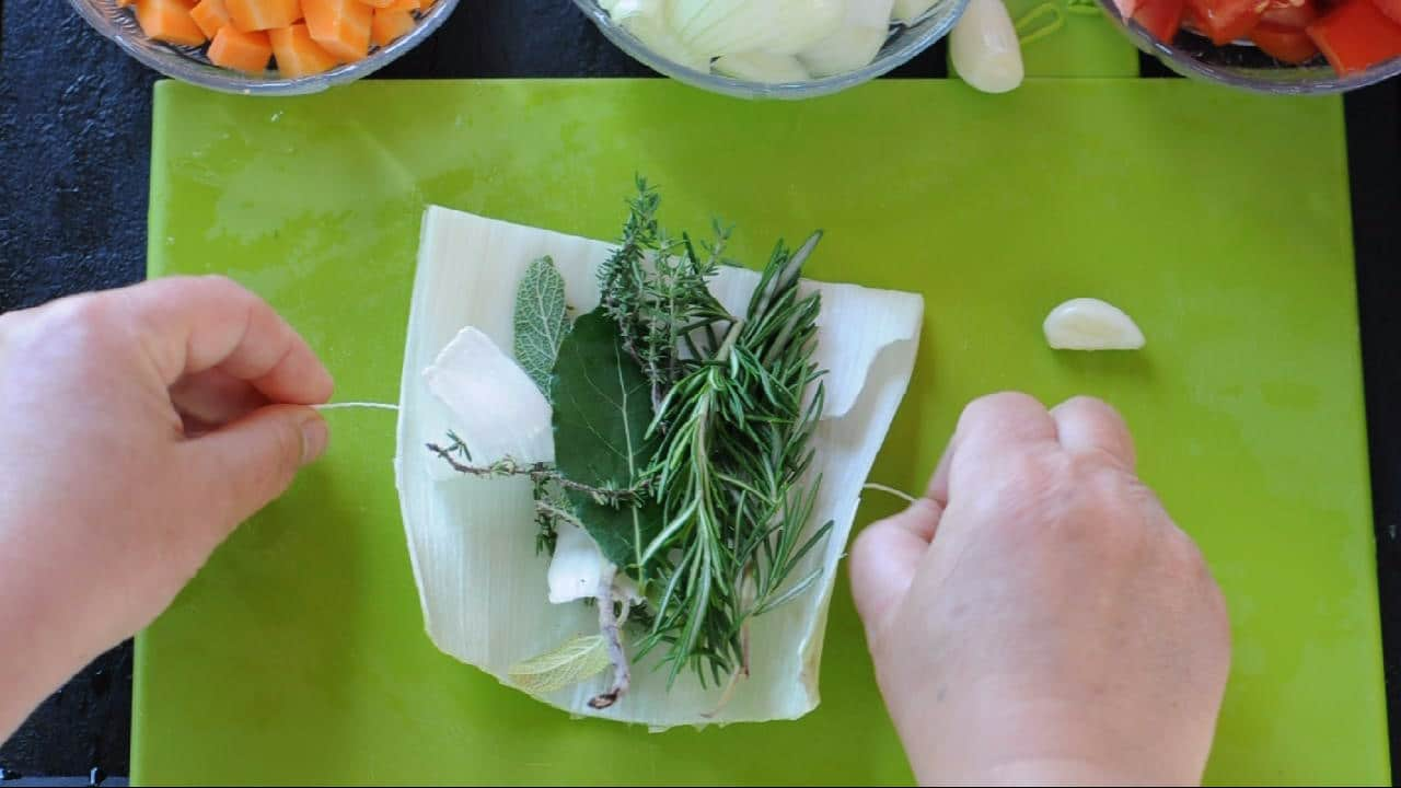 opened bouquet grani with herbs inside
