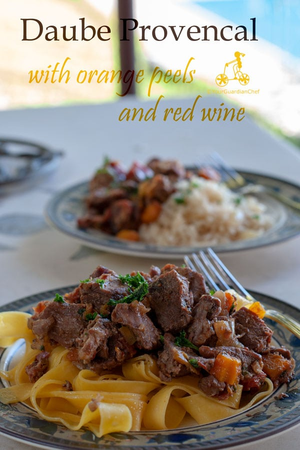 Beef Daube Provencal is a classic dish from the South of France, it is beef stewed in red wine flavoured with vegetables, herbs and orange peels. It can be served with rice, fresh tagliatelle, warm or cold.