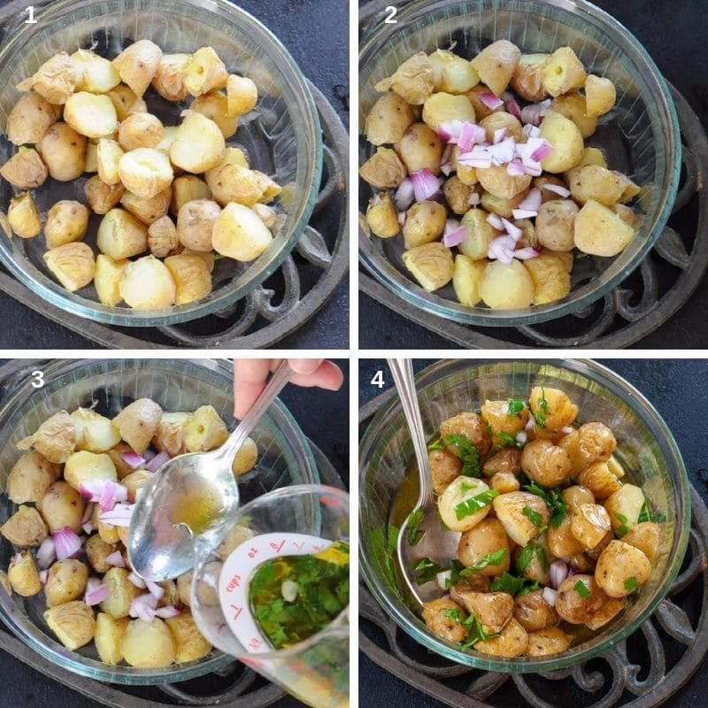 Preparing the Italian potato salad
