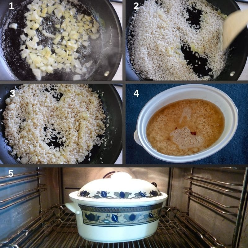 Step by step baking rice in the oven