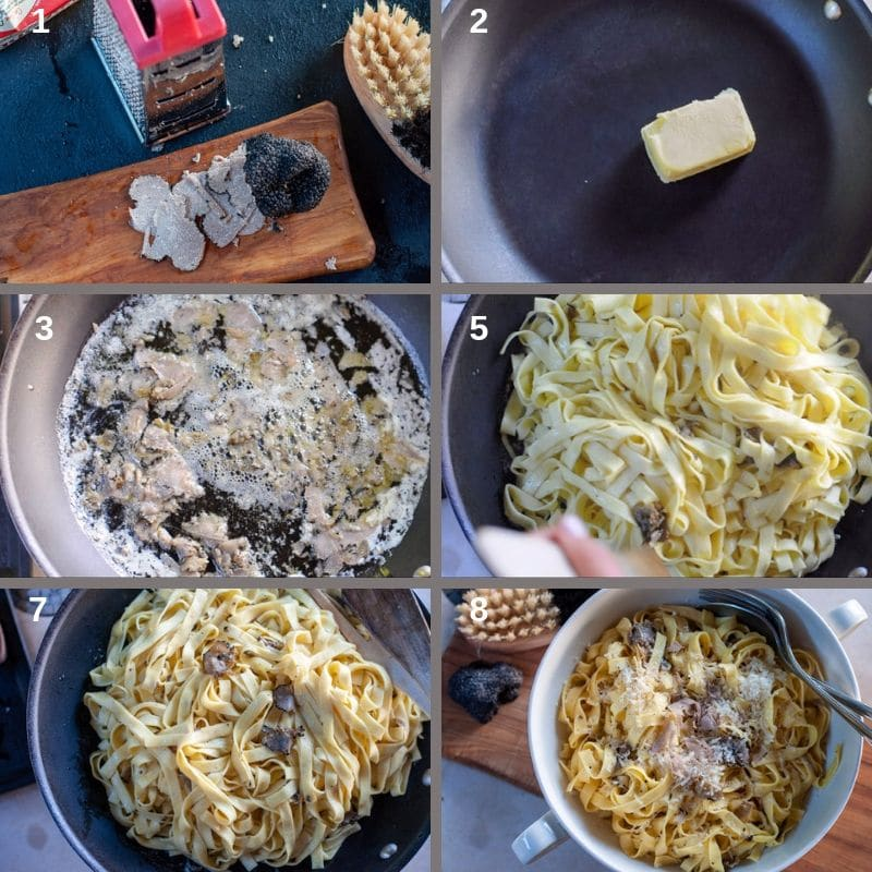 step by step recipe pasta with black truffle