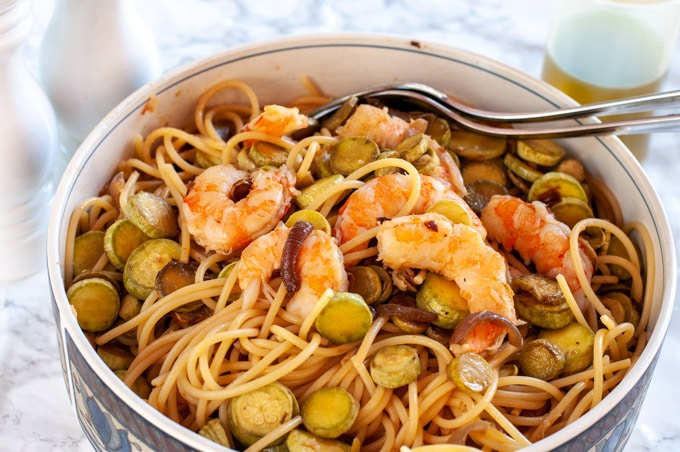 zucchini shrimp pasta on a serving dish
