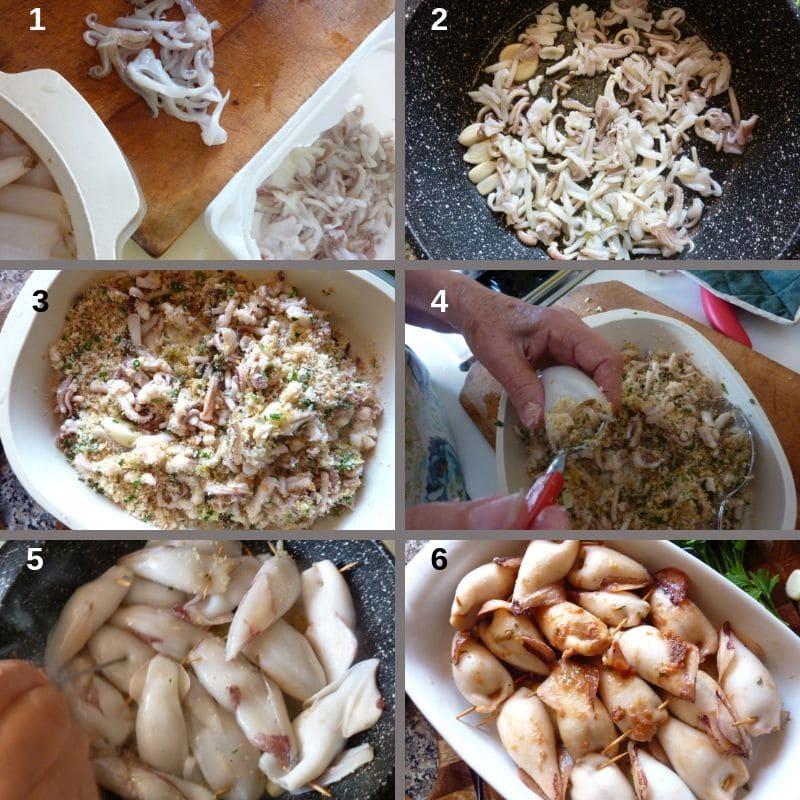 Making stuffed calamari