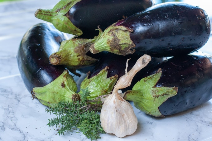 ingredients for eggplant caviar