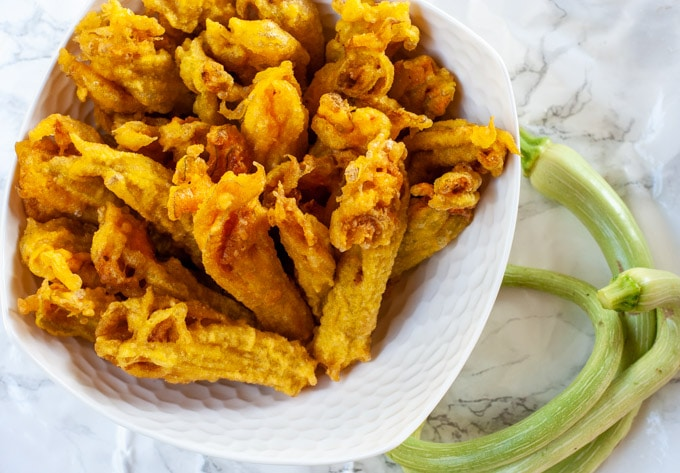 Fried Zucchini Flowers With Saffron Batter