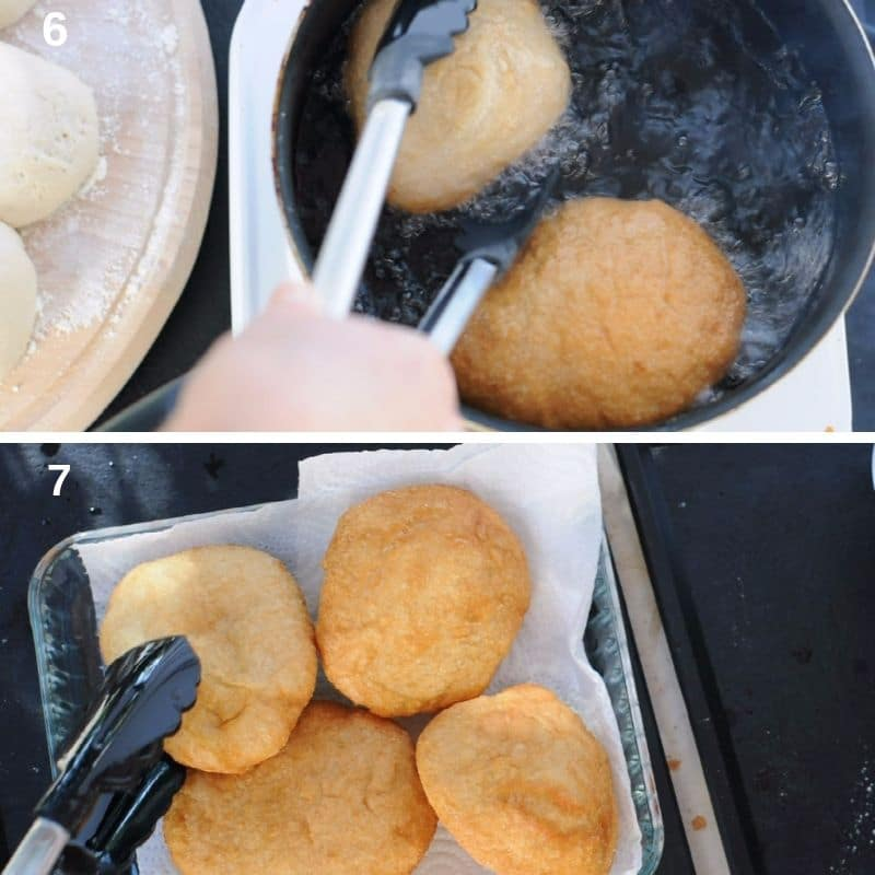 Frying the pizza dough 2
