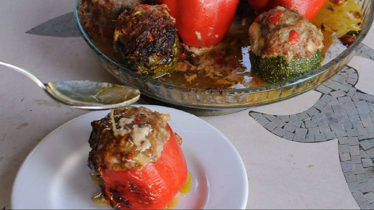 Juice on the stuffed peppers