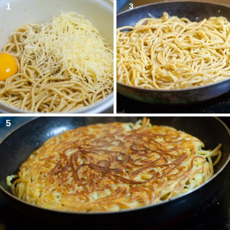 Making fried leftover spaghetti