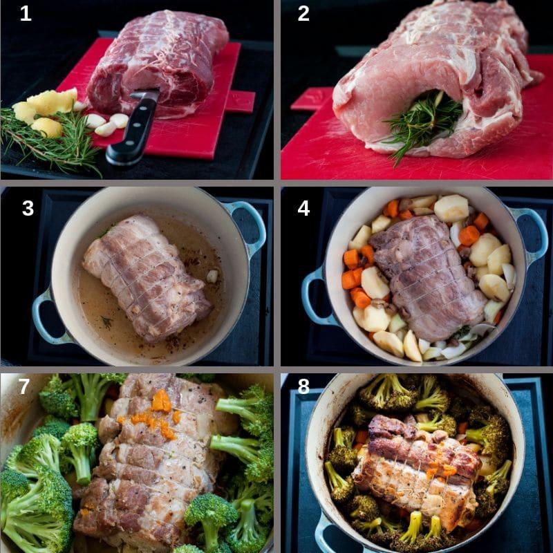 Making the pork casserole