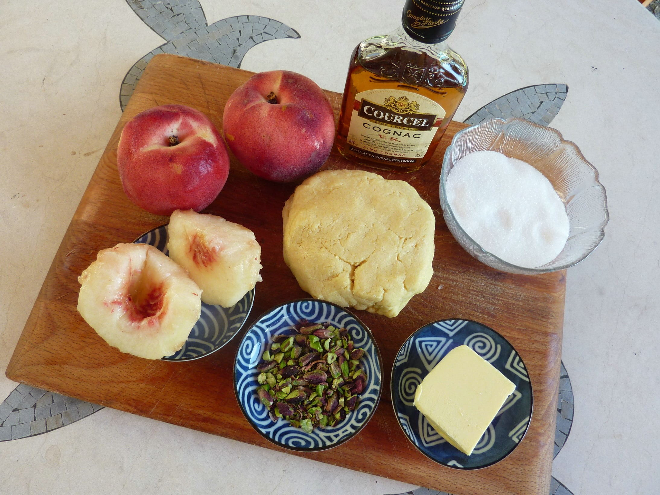 ingredients for the Peach tarte tatin