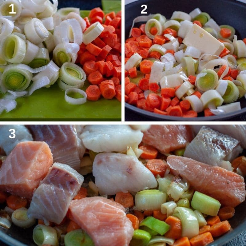 step by step preparing the fish for the pie