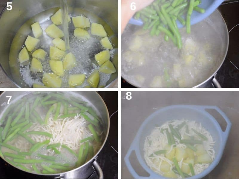Cooking the pasta with the vegetables