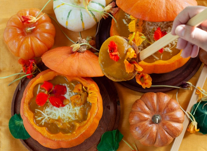 Roast pumpkin soup served in the pumpkin