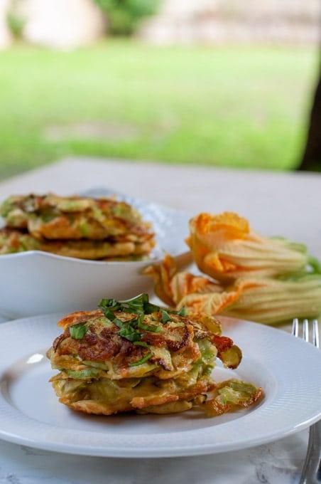 Italian zucchini frittata on a dish