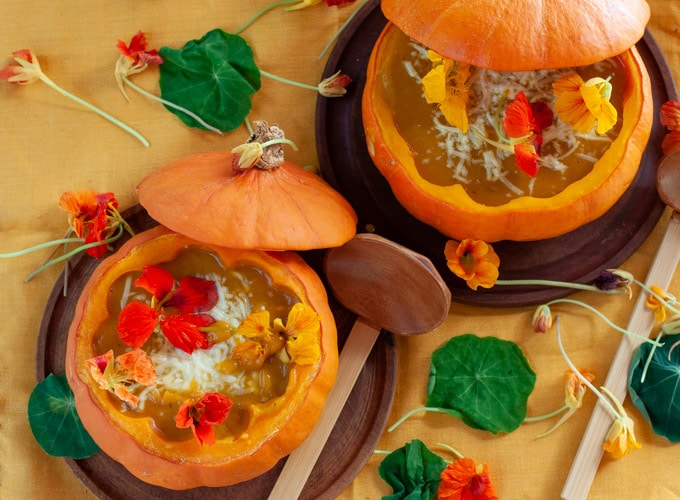Roast Pumpkin Soup decorated with edible flowers