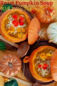 This roasted pumpkin soup is what you need for a special celebration, the soup is full of hearty flavours, like garlic and thyme. To make it festive it is served inside the pumpkin and top it with peppery edible flowers Nasturtium Capucines.