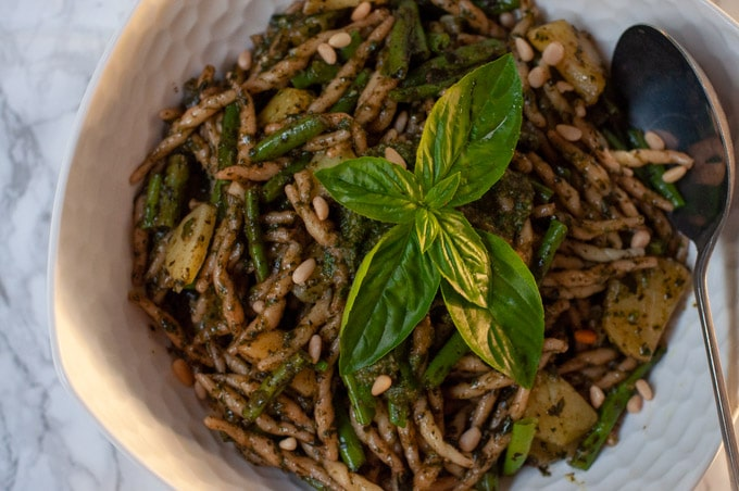 Trofie with pesto Genovese