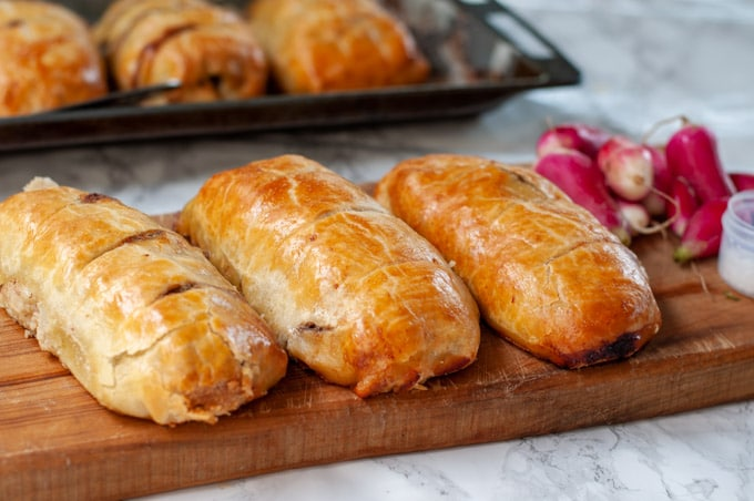 Beef sausage hand pies laid to cool down
