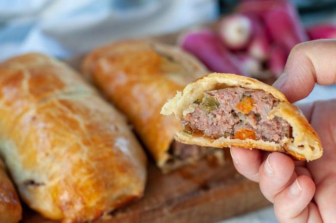 Beef sausage hand pies