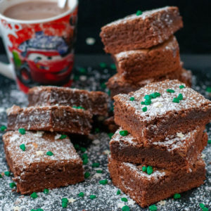 Brownies served with hot chocolate