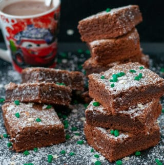 Classic American Brownies served with hot chocolate