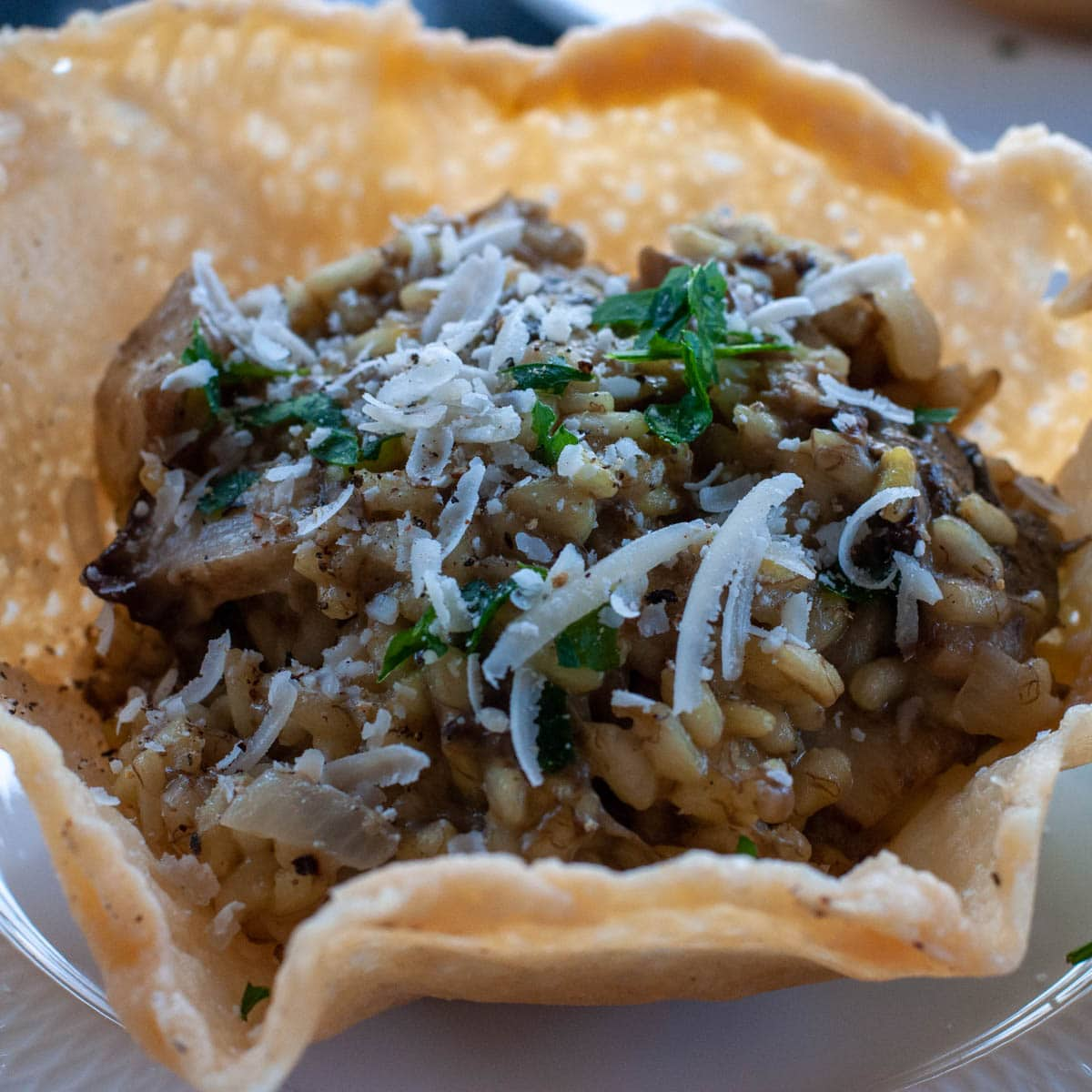 Porcini mushroom risotto served in a Parmesan bowl
