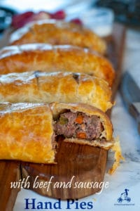This beef sausage hand pie recipe is a complete meal perfect for picnics as you can eat it at room temperature with your hands and without any mess. The filling is made with half beef and half pork mixed with diced carrot, celery, and onion and flavoured with a touch of Cognac.