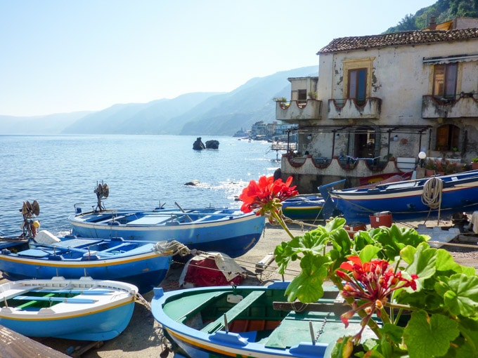 wooden fishing boats in the Mediterranean coast