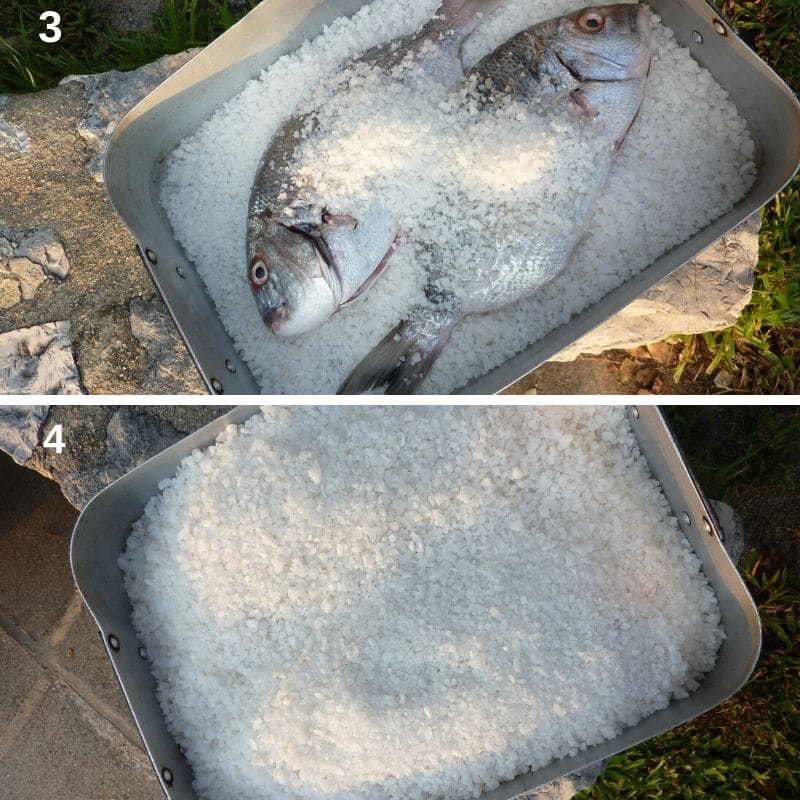 Preparing the fish in salt
