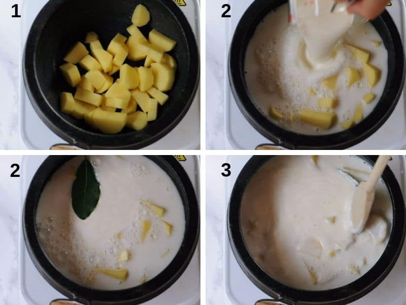 how to boil the potatoes in milk