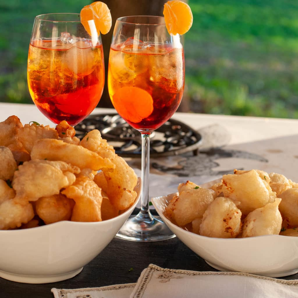 Italian Fried Dough Crispelle served with Spritz