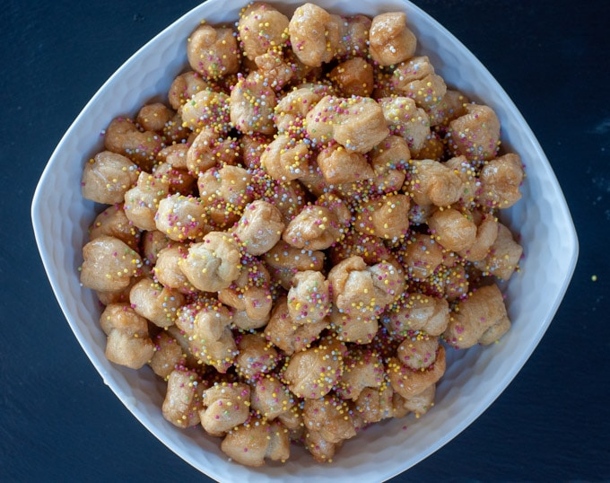 struffoli with rainbow sprinkles