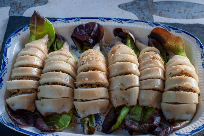 stuffed calamari on a serving dish