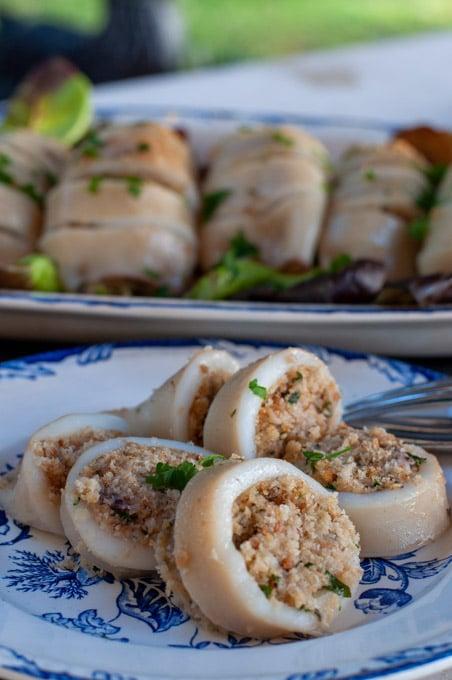 Staffed calamari served on a dish
