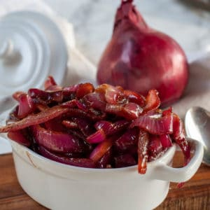red onion relish on a ramekin
