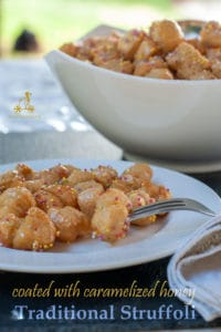 Struffoli is a Christmas tradition from Naples, they are fried dough flavoured with Cognac and coated with caramelized honey. #yourguardianchef #dessert #Christmas