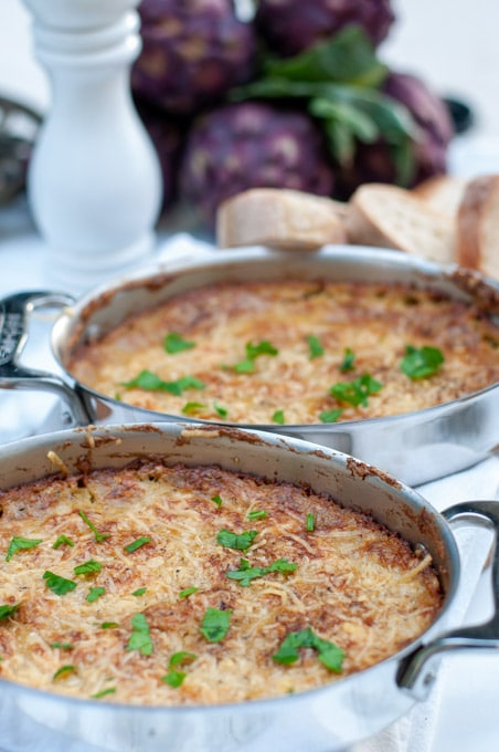 Artichoke dip in the pan