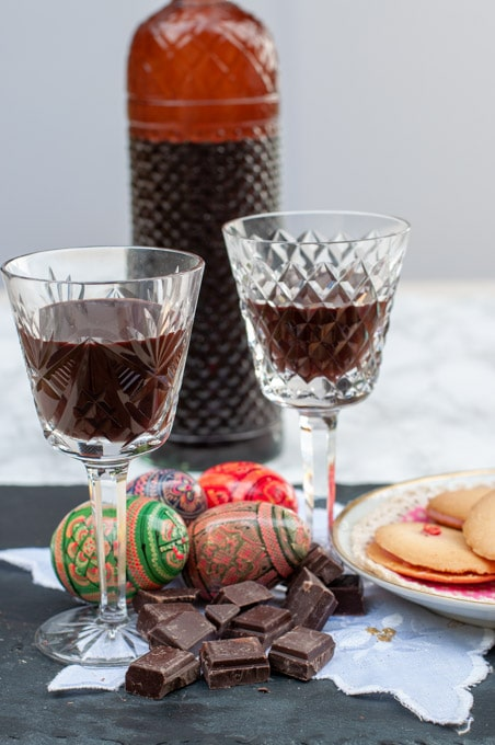 homemade chocolate liqueur served in two glasses