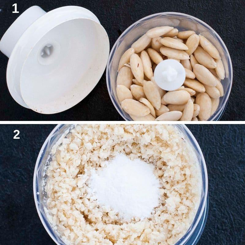 Grating almonds