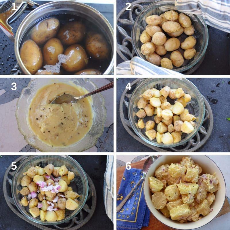 making the potato salad