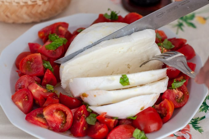 Caprese with gigantic mozzarella