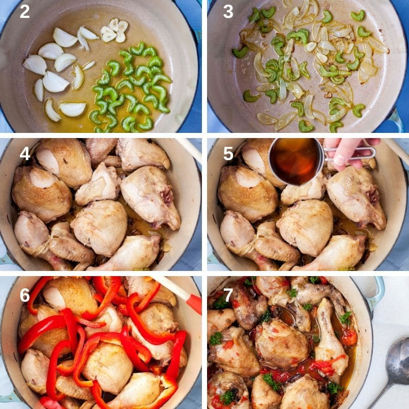 Making chicken with peppers