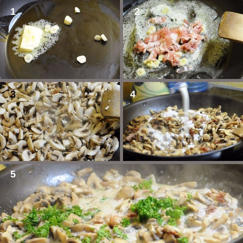 making the mushroom filling