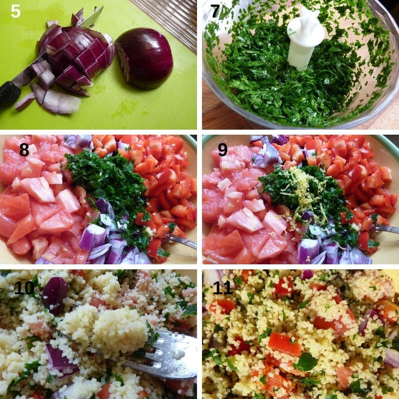 mix the ingredients of the tabbouleh