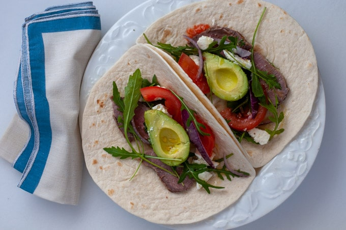 wraps with leftover lamb