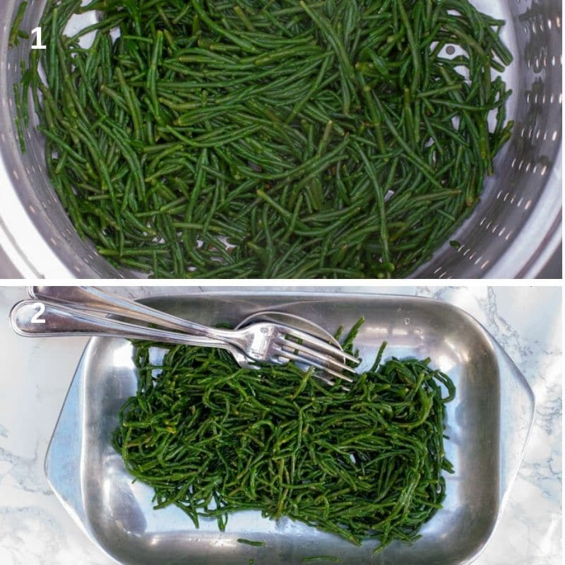 boiling and serving the samphire seaweed