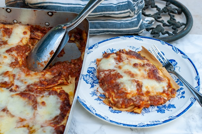 lasagna with bolognese sauce and bechamel