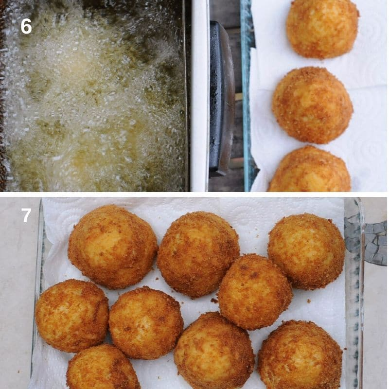 frying  the arancini